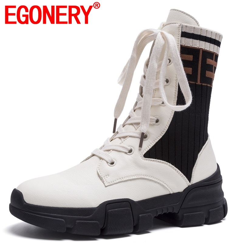 EGONERY women shoes 2018 new concise casual round toe genuine leather med wedges platform lace-up black winter mid calf bootsEGONERY women shoes 2018 new concise casual round toe genuine leather med wedges platform lace-up black winter mid calf boots