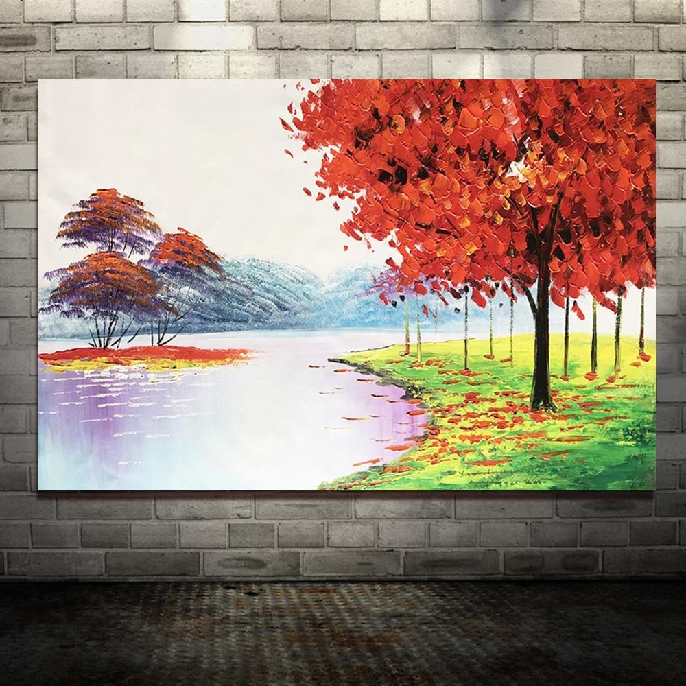 Большой расписанный вручную любовник дождь уличное дерево лампа пейзаж картина маслом на холсте настенные художественные настенные картины для гостиной домашний декор - Цвет: HY142225