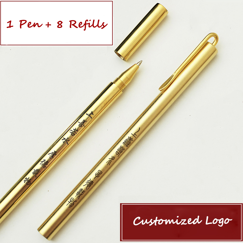 Vintage Brass Gel Pen Customized Logo Business Metal Pen Office Copper Writing Pen Personalized Gift Creative Birthday Gifts