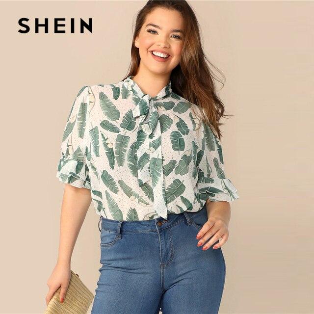SHEIN Plus Size Multicolor Tie Neck Ruffle Trim Tropical Print Top Blouse 2019 Women Summer Boho Stand Collar Half Sleeve Blouse