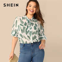 SHEIN Plus Size Multicolor Tie Neck Ruffle Trim Tropical Print Top Blouse 2019 Women Summer Boho Stand Collar Half Sleeve Blouse