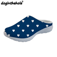doginthehole Love Printing Women's Slippers Flats Team Sports Sandals Breathable Beach Shoes for Female Mesh Ladies Shoes Daily