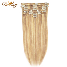 цена на Clips In Human Hair Extensions P18/613 Human Hair Clip In Extensions 12Pieces/Set Full Head Sets 100g Brazilian Remy Hair Clips