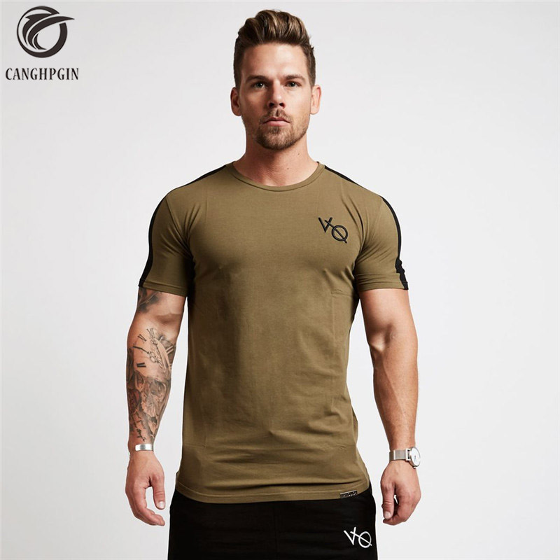 New Men Fitness Short Sleeve T Shirt Running Shirt Men Compression Gym Sport Bodybuilding T-shirt Cotton O Neck Slim Tee Tops round neck color block spliced splash ink print short sleeve men s sport suit t shirt shorts