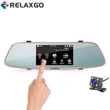 Relaxgo 5″ Touch Screen Car DVR Dual Lens Rearview Mirror Car Camera Full Hd 1080P Night Vision Video Recorder Parking Black box
