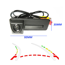 92*35mm HD CCD Invertendo Trajetória Trackin Para Skoda Fabia Octavia Roomster Superb Yeti Tronco punho Do Carro 520TVL Câmera de segurança
