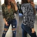 CALIENTE Atractivo de Las Mujeres T-Shirt Camisa de Camuflaje Con Cuello En V Halter Top Ladies Loose Bandege Tees Harajuku Sudaderas Chándales Femenina W0