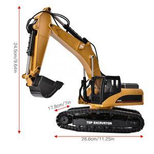Image 4 - 1580 2.4G 23CH RC חופר צעצוע 1/14 בקנה מידה מתכת הנדסת רכב עם LED פלאש סורק מכוניות משאית צעצוע