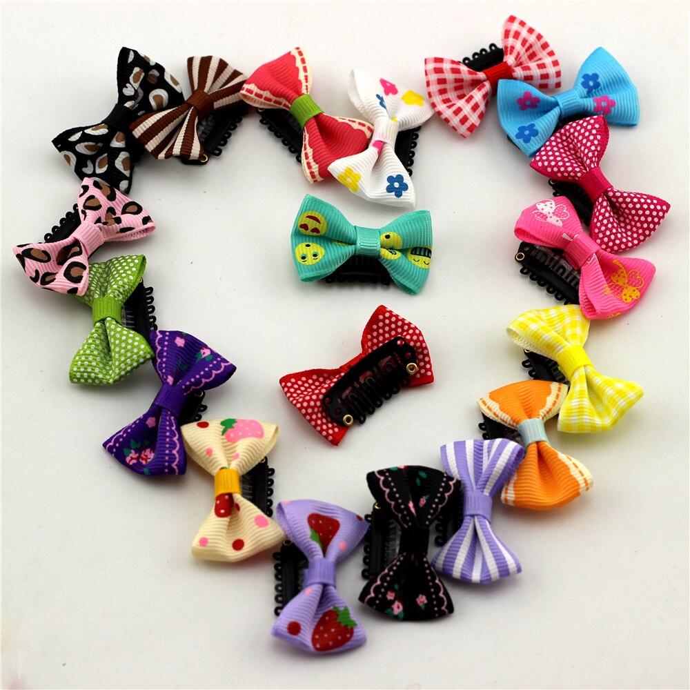10pc Print Flower/Strawberry/Smile/Cartoon Babies Fine Wispy Hair Mini Latch Wisp Clip Newborn Bow Hair clips Infant Hairpin