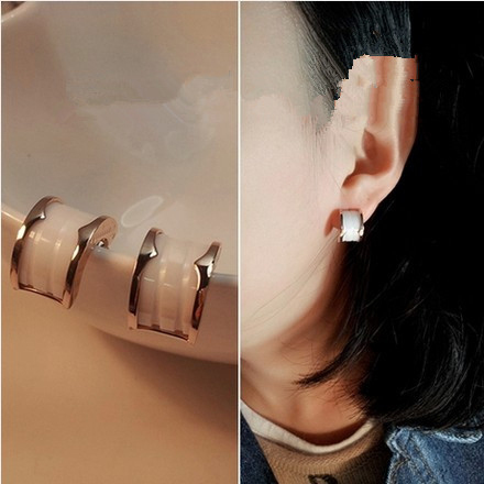 Two Color Choice Top Quality Classic Rose Gold color Simple Fashion Arch Ceramic Women Stud Earrings