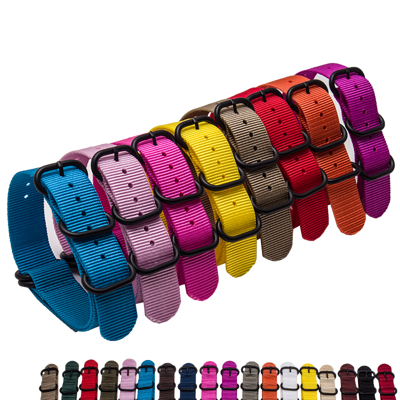 Wholesale Nylon Watchband Belt 18mm 20mm 22mm 24mm Colorful Watch Straps Belt Steel Silver Deploy Clasp