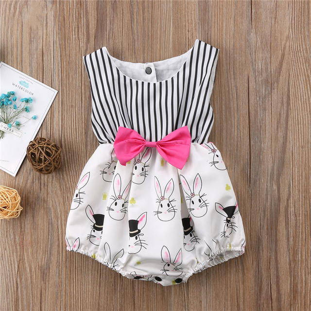 aacebfe5f33e0 Newborn Clothing 2018 Summer Toddler Baby Girls Sleeveless Easter Bunny  Clothes Bodysuit Sunsuit Outfits Baby Girl Clothes 0-24M