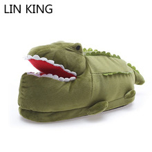 Купить с кэшбэком LIN KING Crocodile Unisex Winter Indoor Slippers Women Men Warm Cotton Shoes Anti Slip Slip On Lazy Home Shoes For Lovers Couple
