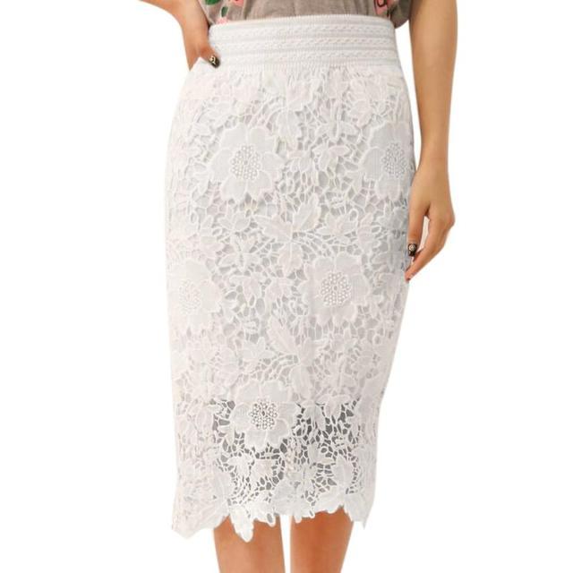 f9377820ad Plus Size Faldas Vintage 2017 White Lace Floral Skirt Women Transparent  Skirt Knee-Length High Waist Fitness Bodycon Skirt XXXL