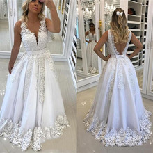 SexeMara Luxury V-Neck A-Line Wedding Dresses Backless