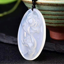 Natural Chalcedony Buddha Hand Lotus Pendant Necklace Drop Shipping Hand-carved Lucky Amulet Lovers For Men And Women