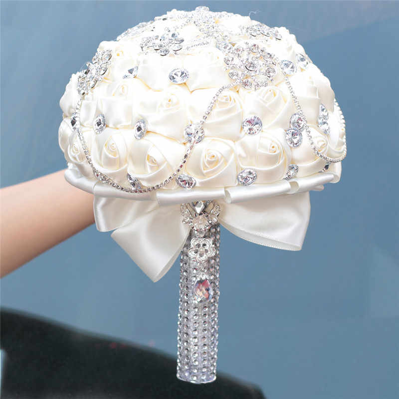 Wifelai-Prom Luar Biasa Ivory Rose Berlian Jumbai Stitch Buket Pernikahan Bridal Mariage Bros Bunga Bunga Dalam Saham W2218-26
