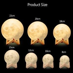 Image 4 - Dropshipping 3D הדפסת ירח מנורת LED לילה אור 20CM 18CM 15CM USB אור ירח 2 צבע משתנה מגע מתג עבור יצירתי מתנה