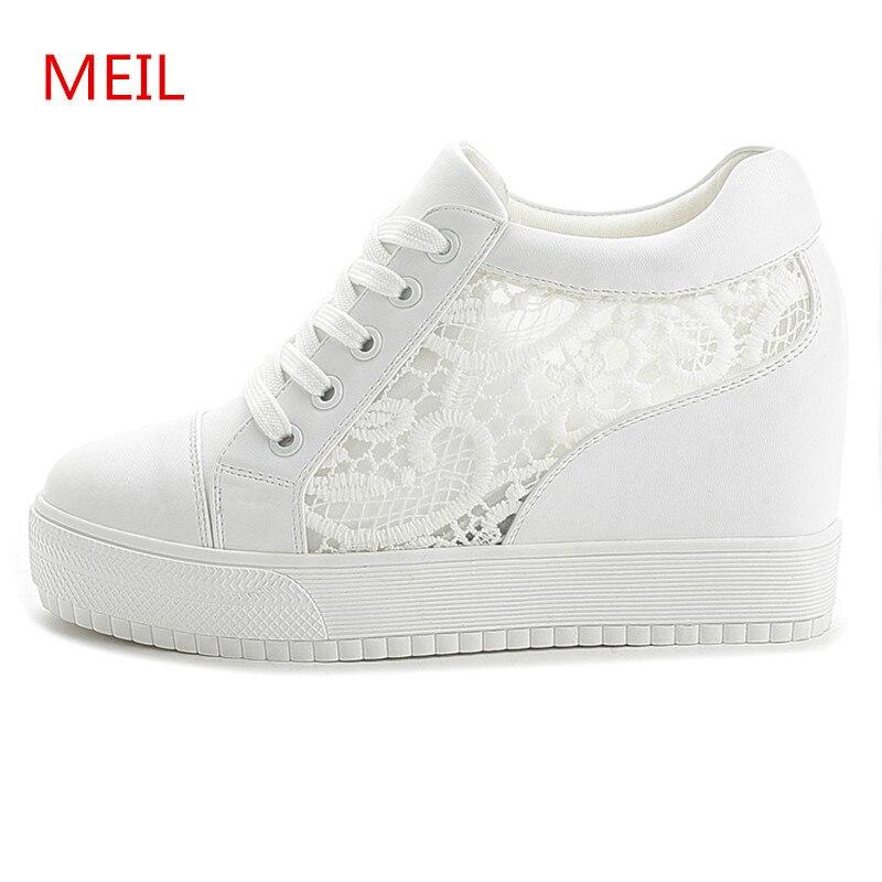 4e0ed900d2f Black White Hidden Wedge Heels Sneakers Ladies Casual Shoes Woman High Platform  Shoes Women s High Heels