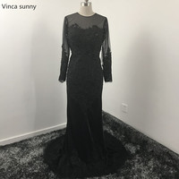 Vinca sunny Black Sexy Mermaid Prom Dresses Sheer Neck Long Sleeves Backless Floor Length Party Gowns Custom Made abendkleider