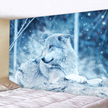 Lying Down The Wolf Holy Animals Tapestry Decoration Wall Hanging Lion Wolf Tiger Pattern Background Wall Tapestry Home Textile krauler vr pr 1000 d black