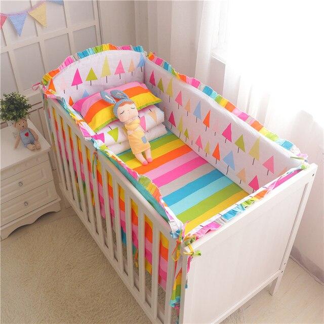 6pcs/set baby bedding set crib bumper sheet pillowcase crib around protection breathable cotton for newborn baby Mickey Elephant