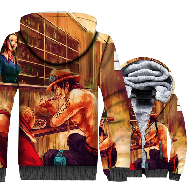 man's 3D Print Anime one piece jackets coats wool liner warm hoodies winter harajuku brand sweatshirts 2019 men swag coats M-5XL