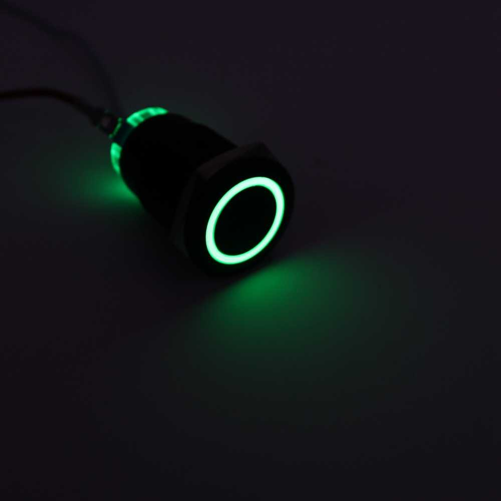 19 мм светодиодный алюминиевый черный кольцевой световой знак кнопка питания без фиксации водонепроницаемый мгновенный выключатель с фиксацией 19HX. F. BK