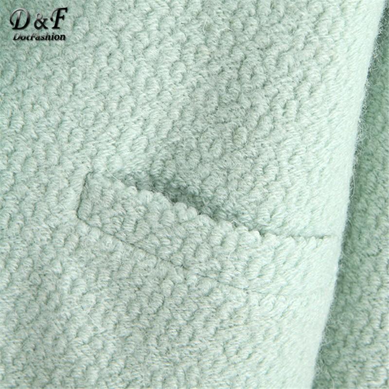 новинка осень / зима мода пальто женская одежда классический монетный двор нагрудные двойной карманный ярус шерсть негабаритных пальто