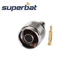 Superbat  10pcs N Crimp Plug Male RF Coaxial Connector for Cable RG142,RG400,RG58,LMR195