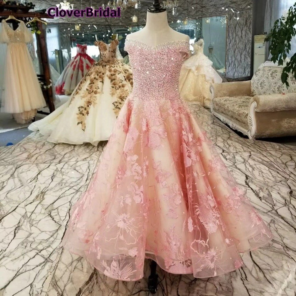 CloverBridal pink lace crystals beaded luxury high low girls dresses 2018 formal girls gowns with train for party and wedding