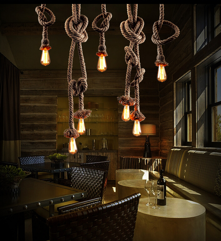 ФОТО 110v 220v Loft Retro Rope Pendant Lights Luces Colgantes Lamp Shades Luminaires Suspendus Industrial Style Pendant Lighting 26