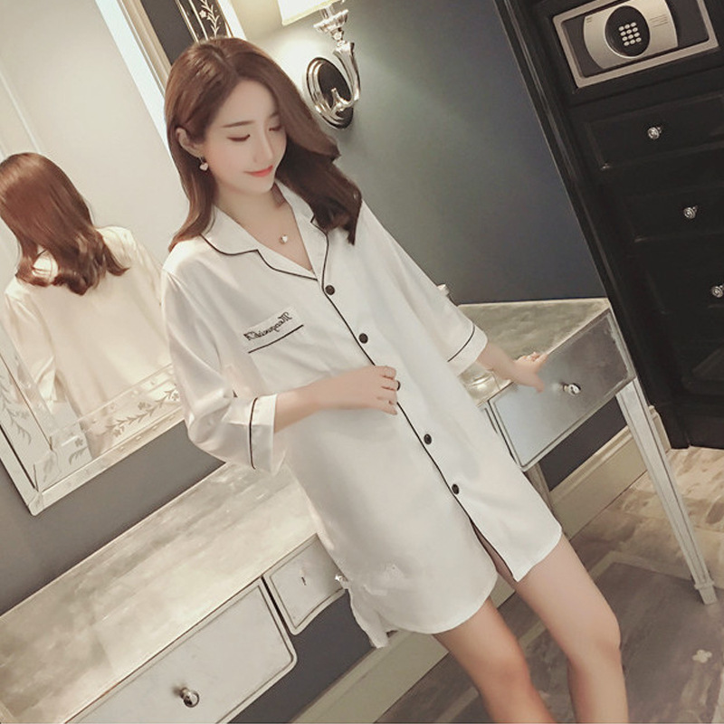 ZOOLIM Women   Nightgowns   Fashion Satin Sleepwear Nightshirts Silk Casual Night Dress Summer Autumn Night Shirts   Sleepshirts