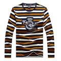 Outono marca clothing stripe camiseta homens o pescoço camiseta manga longa slim fit mens casual camisetas roupas tace & shark