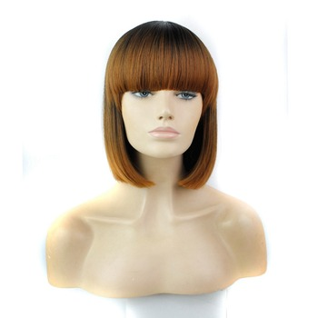 Luxury For Braiding 12 Ombre Brown Blue Short Cut Hairstyle Straight Heat Resistant Synthetic Bob Wig with full Bang bob style grey ombre white fashion medium synthetic straight side bang capless wig for women page 1