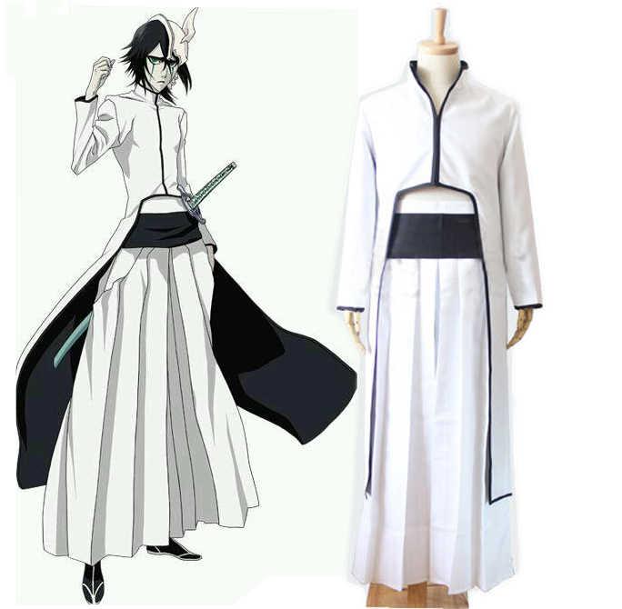 Аниме Блич Улькиорра Cifer Косплэй костюм полный комплект белый Кендо кимоно (плащ + Брюки для девочек + пояс) костюмы на Хэллоуин