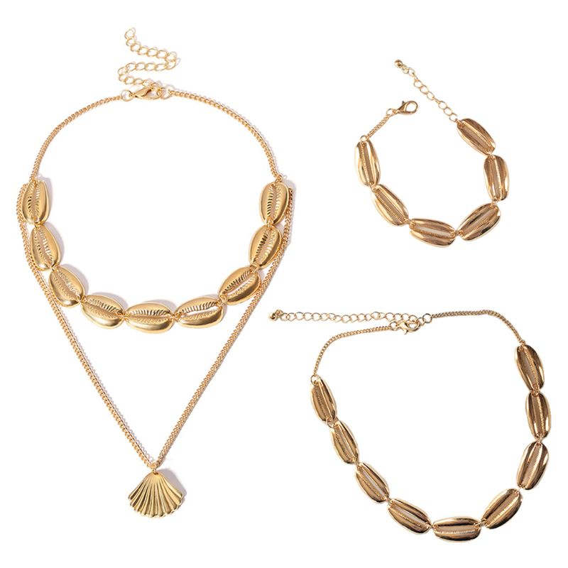 Ketting Choker + Armband Vrouwen Bohemen Sieraden Charms Golden Shell Boho Double-layer Bangle Chain Geschenken Vintage Trendy Decor Zowel De Kwaliteit Van Vasthoudendheid Als Hardheid Hebben