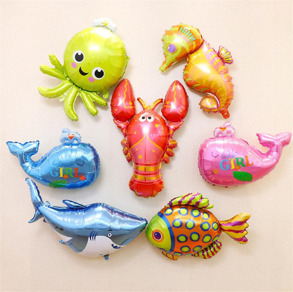 Animal Head Foil Balloons Kids Birthday Theme Jungle Party Ocean Fish Balls Inflatable Toys Baby Shower  Party Cartoon Hat