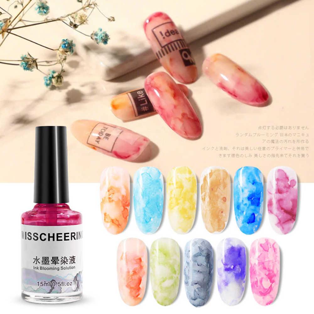 15 ml Marmer Inkt Nagellak 12 Kleuren Aquarel Patroon Marmor Nagels Polish Verven Vloeibare Gradiënt Nail Gel Beauty Nail art