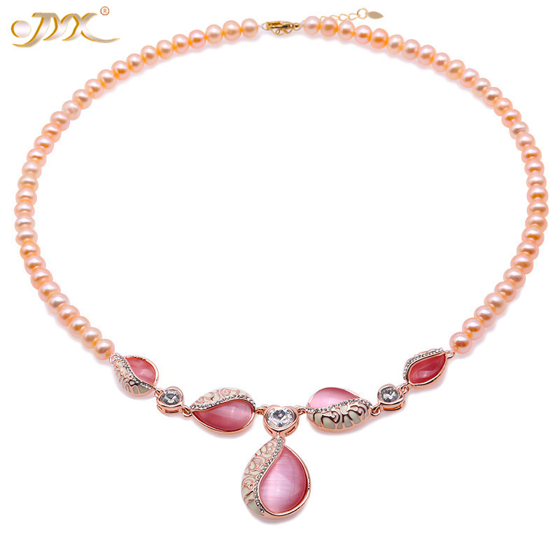 JYX New Charming Tulip Choker necklace pink 7mm pure freshwater pearl chains AAA high quality women necklaces