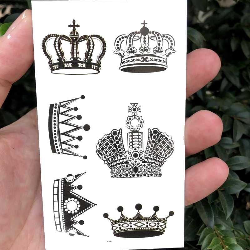 Waterproof Temporary tatoo sticker  black Lace Crown for king queen tattoo Water Transfer fake tatoo flash tatto 10.5*6cm
