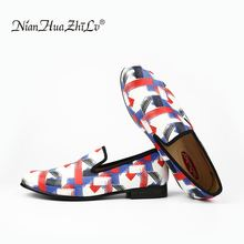 Black and red blue three color printing mens leather shoes. Handmade luxurious wedding fashion loafers
