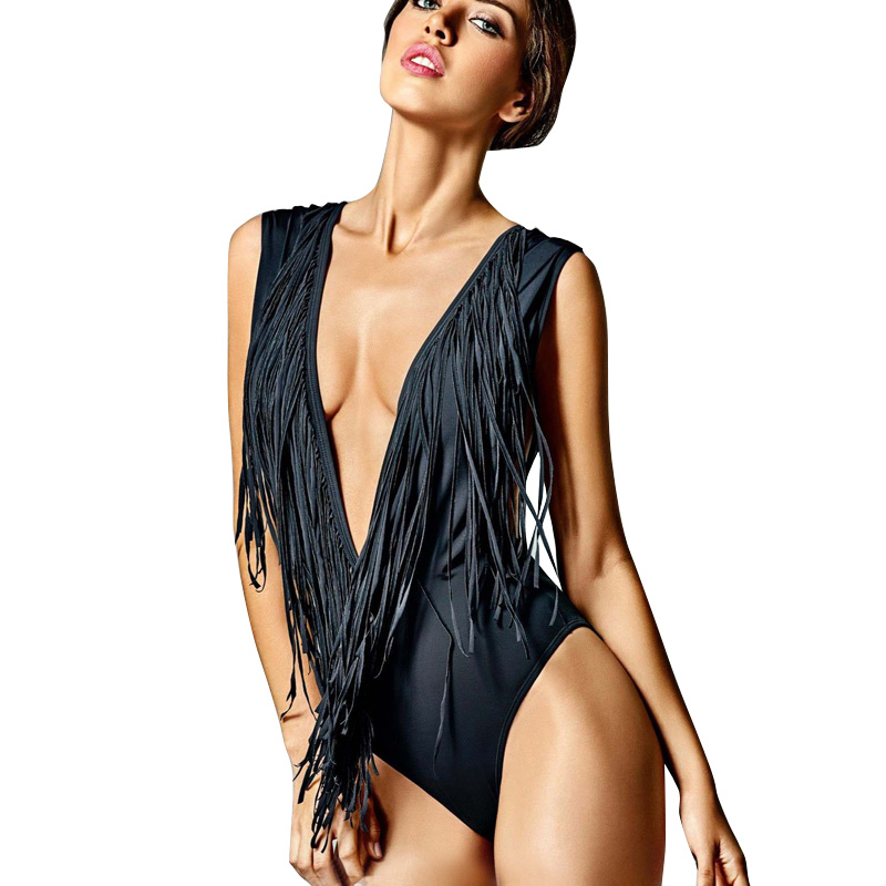 2017 Black Deep V Monokini One Piece Swimsuit Fringe Swimwear One-Piece Bathingsuit Women Tassels Monokini Triquini Trikini ...