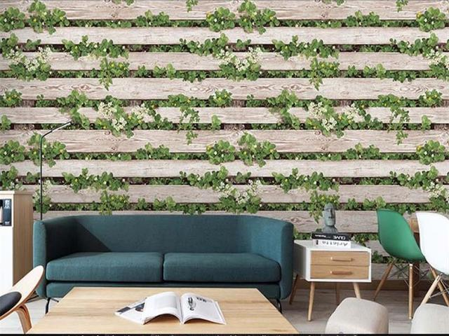 3d Wallpaper Photo Wallpaper Custom Size Living Room Mural Cement Plank  Green Leaf 3d Painting Sofa