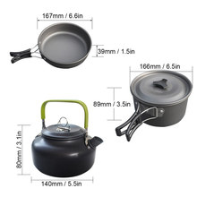 10pcs Outdoor Aluminum Cookware Kit Non-Stick Cooking Picnic Lightweight Pot Pan Kettle with 2 Cups for Camping Hiking Picnic