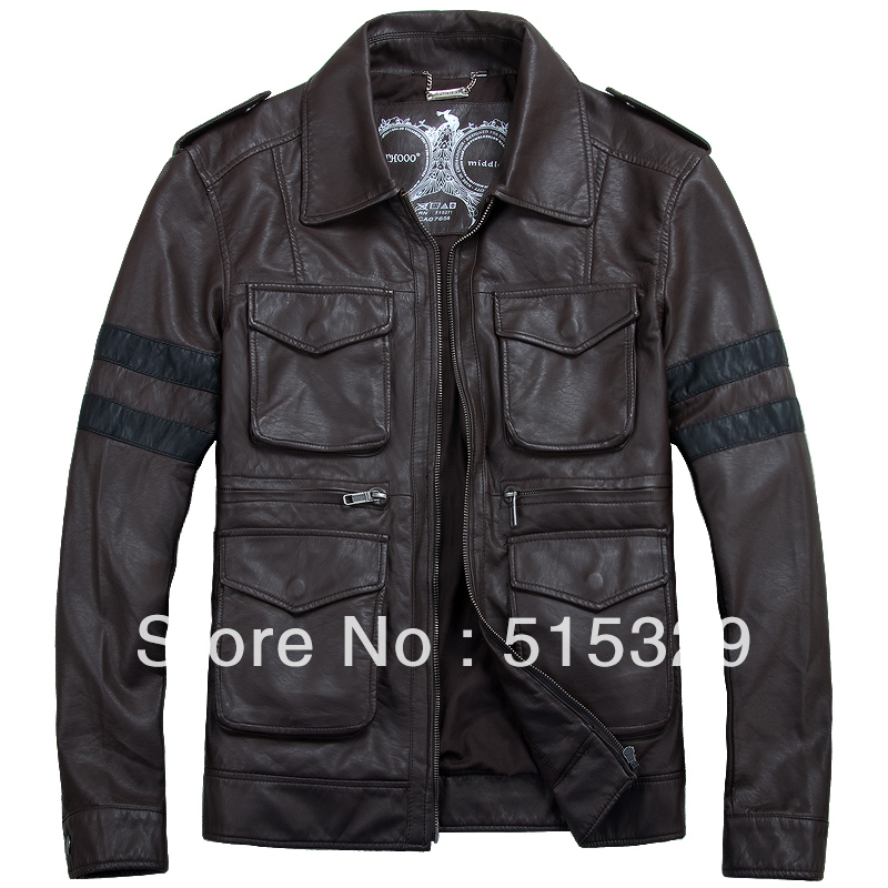 TM201209005 Resident Evil classic leon explosion brown THOOO Gentlemen PU Leather Jacket Coat Motorcycle M L