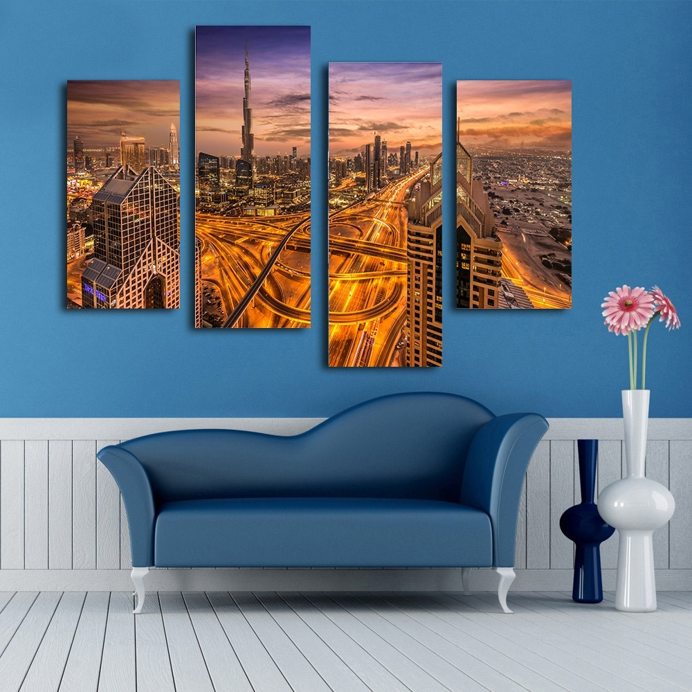 2017 Picture Print Painting Dubai Night Canvas Wall Art 4 Panel For Bedroom Living Room Home Decor