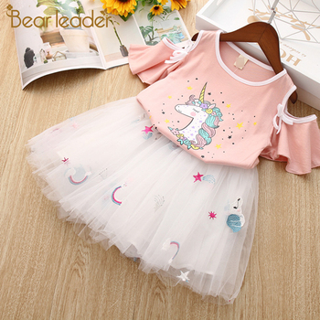 Bear Leader Girls Clothing Sets New Summer Fashion Style Cartoon Rabbit  Printed T-Shirts+Pink Dress 2Pcs Girls Clothes Sets