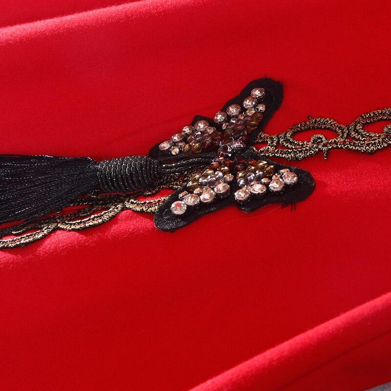 Genou Samgpilee Nouveau Black 3xl red Plein Naturel Solide Robes L Femmes Col Manches Hiver ligne Stand A Mode Diamants 2018 Casual longueur EvwxAngqE