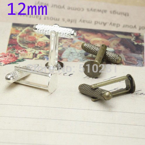 Silver plated French Cuff Links With 12mm Round Flat Blank LK-3004